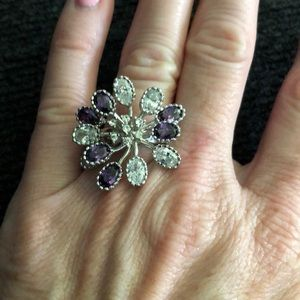 Purple and clear crystal ring size 7